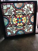 Sg 3162 Antique Stained And Jeweled Kaleidoscope Window 30 X 30.25