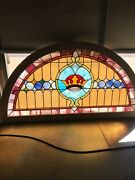 Brick Shop Antique Stained Glass Arch Window Kings Crown 73.75 X 39.25
