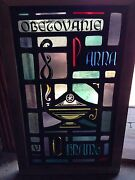 Antique Stain Glass Window Eternal Flame Oil Lamp Sg 49