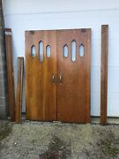 Bova 1 Match Pair Antique Oak Beveled Glass Double Doors With Jamb 5andlsquo X 83.25