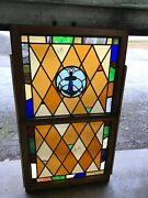 Can 7 Antique Double Hung Stained Glass Window Anchor 34.5 X 59.5 X1.75