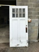 Mar 300 Antique Painted Pine Beveled Glass Entry Door 35 7/8 By 80