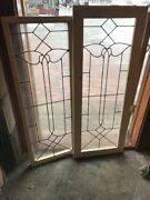 Sg 1883 Match Pair Antique Leaded Glass Sidelights Window