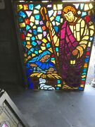Mc 15 Antique Chunk Stained Glass Window Nativity Scene 44 X 59