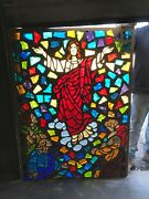 Mc 18 Antique Faceted Chunk Stained Glass Window Ascension 44 X 59