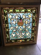 Brick Antique Stained Glass Landing Window Fruit Bowl 48.5 Wi 53.5 H