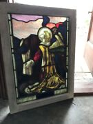 St 2503 Antique Painted In Fired Stainglass Boy Angel Window 21.5 X 30.75 Gabriandhellip