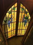 Sg 2338 Match Pair Painted In Fired Stained Glass Arch Top Wisteria Windows 24 …