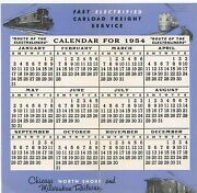 1954 Railway Calendar Chicago North Shore Milwaukee Electroliner And Freight Train