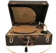 Antique Birch Model No. 3 Hand Crank Phonograph Working Vintage 64 Record Player