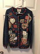 Heirloom Collectibles Vintage Valentine Sweater Hearts Size Small