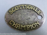 Vintage Scottsdale Champion Gold On Sterling Rodeo Prize Key Tag Or Fob