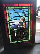 Sg 3448 Antique Painted And Fired Stained Glass Window Figural 25.5 X 35