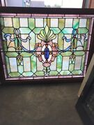 Sg 2281 Antique Stained Glass Jeweledlanding Window Ribbons 32 X 41 5/8andrdquo