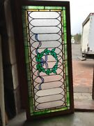 Sg 2291 Antique Stained And Textured Glass Wreath Transom Window 24 X 53.75