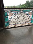 An Antique Stained And Beveled Transom Glass Window 39 X 72 Vintage