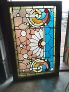 Sg 2895 Antique Stained Jeweled And Beveled Transom Window 1890s 29.5 X 44