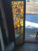 Sg3134 Antique Stained Glass Jeweled Necklace Transom Window 15.25 X 54.5