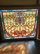 Sg 3241 Antique Stained Glass Landing Window 54w By 47.5 H