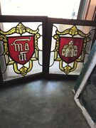 Sg 2380 Pair Antique Textured Glass Painted And Fired Windows 22 X 27