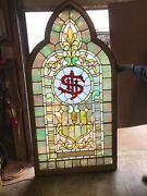 An527 Antique Gothic Arch Stain Glass Window 45 1/8 X 87