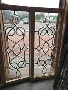 Sg 2535 Gorgeous Match Pair Antique All Beveled Glass Transom Or Sidelight Wind…