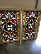 Sg 2582 Av Price Separate Antique Painted And Fired Landing Window 29 X 46