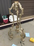 An 6 Antique Silver Plate Over Bronze Harry Paw Table Lamp Base