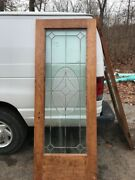 Oxf 22 Antique Beveled Leaded Entrance Or French Door 29.75 X 79.25