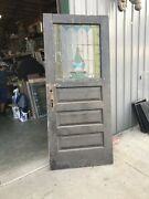 An614 Antique Entry Door Stained Glass 36 X 83.5 X 1.75
