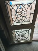Sg 3272 Amazing Pair Antique All Beveled Glass Fire Side Windows 25 In.andsup2