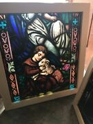 Sg 2443 Antique Stained And Painted Fired Church Window Fragment Child With Lamandhellip