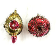2 Antique German Wire Wrapped Mercury Glass Triple Indent Christmas Ornaments