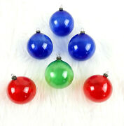 6 Vintage Japan Wwii Era Unsilvered Blue Green Red Glass Christmas Ornaments