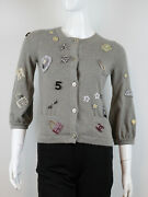 Womens Cashmere Lucky Charms Embellished Gray Cardigan Size 36 Sold Out