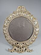 Antique Ornate Silver Plate Rococo Style Vanity Round Mirror Frame Ca. 20th C.