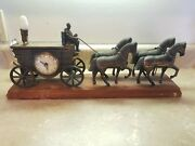 Vintage United Electric Mantel Clock - Horse-drawn Covered Wagon - Animated