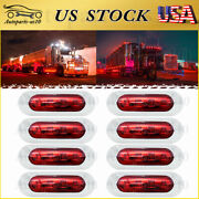 8x Red 3.8 Led Clearance Marker Lights Trailer Truck Running Tail License Plate