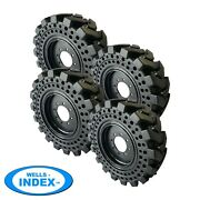 10x16.5 Solid Cushion Skid Steer Tires For Case Set Of 4 With Rims 10-16.5