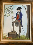 Betty Berry Spatz George Washington Life Guard Oil Painting -signed And Framed