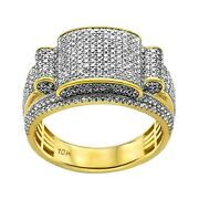 1.13ct Pavandeacute Round Diamonds In 10k Yellow Gold Chunky Menand039s Ring - Size 9-11