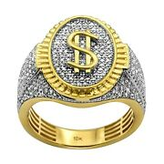 0.87ct Pavandeacute Diamonds In 10k Yellow Gold Dollar Oval Signet Menand039s Ring Size 9-11