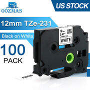 100x Tz-231 Tze-231 Pt-d210 Compatible Label Maker Tape 12mm For Brother P-touch