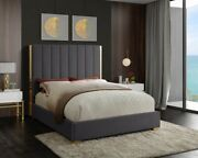 Queen Size Bed Grey Velvet Bedroom Furniture Contemporary Gold Metal Leg And Frame