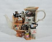 Rare Cardew Limited Edition Marketplace Stall 3094 Of 5000 Teapot And Crate New