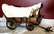 Vintage Handmade Wooden Conestoga Western Covered Wagon - Tabletop Size