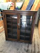 An 2 Antique All Oak Built In Bookcase With Shelves 45.5 X 51.5 H