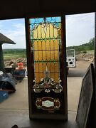 antique Stained Glass Landing Window 36 X 8and039
