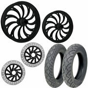 Rc Calypso Black 21/18 Front Rear Wheel Package Set Tires Rotors Harley Touring