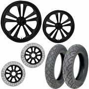Rc Crank Black 21/18 Front Rear Wheel Package Set Tires Rotors Harley Touring